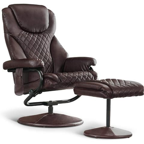 Mcombo Recliner with Ottoman, Massage 360 Swivel Leisure Chair Faux Leather 4901