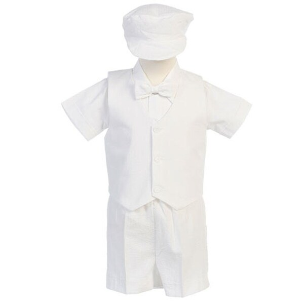 Boys White Vest Shorts Easter Ring Bearer Formal Suit 12M-4T - 6-12 months