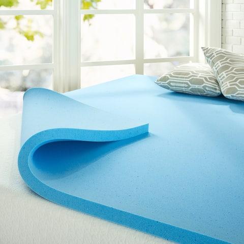 Priage by ZINUS 2 Inch Green Tea Cooling Gel Memory Foam Mattress Topper - Blue