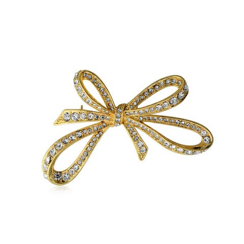 Open Pave Crystal Fashion Statement Large Ribbon Bow Brooch Pin