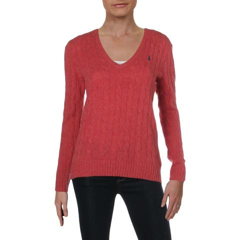 Polo Ralph Lauren Womens Kimberly Pullover Sweater Wool V-Neck - M