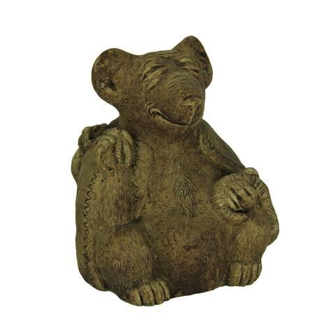 Designer Stone Driftwood Gray Zen Rat Concrete Statue - 5.5 X 4.5 X 4.25 inches