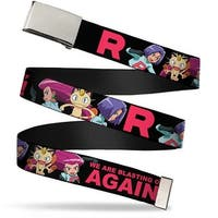 Blank Chrome  Buckle Team Rocket Group Poses R We Are Blasting Off Web Belt - S