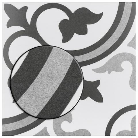 "SomerTile Amberes Classic Encaustic 12.38""x12.38"" Ceramic Floor and Wall Tile"