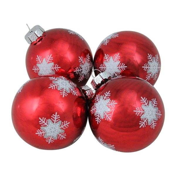 """4-Piece White and Grey Snowflake Pattern on a Red Glass Ball Christmas Ornament Set 4"""" (100mm)"""
