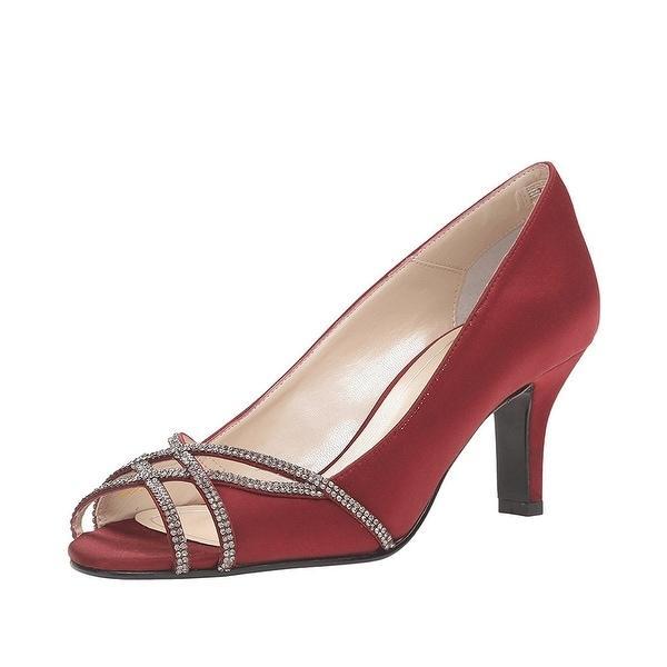 Caparros Eliza Peep Toe Evening Pumps Heels Garnet Satin - 10 b(m)