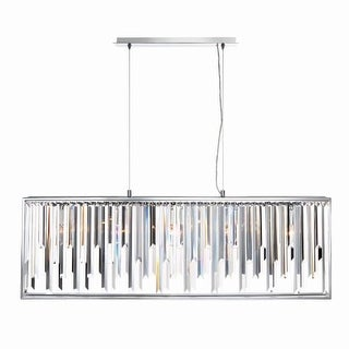 "Eurofase Lighting 31902 Genova 5 Light 41"" Wide Crystal Linear Chandelier with Coffin Crystals"