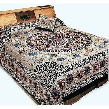 Handmade 100% Cotton Celtic Sunflower Mandala Tapestry Tablecloth Coverlet Bedspread Dorm Decor Beach Sheet in Twin & Full