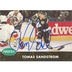 Tomas Sandstrom Los Angeles Kings 1991 Parkhurst Autographed Card This item comes with a certifica