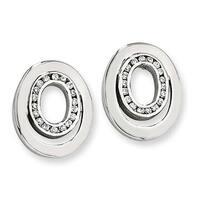 Chisel Stainless Steel CZ Earrings