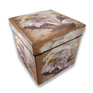 Bald Eagle Foldable Storage Ottoman 14 In.