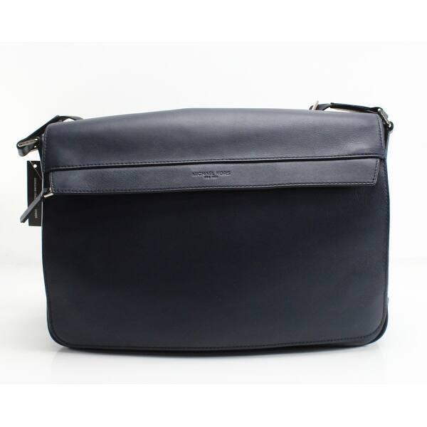 f9e482825600 Shop MICHAEL KORS Blue Navy Odin Resina Large Leather Messenger Bag ...