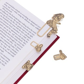 That Company Called If Alice in Wonderland Brass Page Markers - 4 Piece Bookmark Set with Alice, Hat, Watch, and Potion - 2 in.