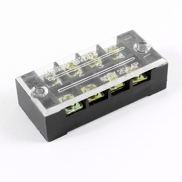 Unique Bargains 600V 25A 2 Rows 4 Positions 4P Covered Screw Terminal Barrier Strip Block