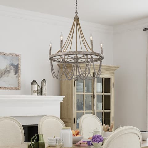 """Boho & Eclectic Wood Beads 6-lights Wagon Wheel Chandelier Empire Ceiling Lamp for Dining Room - L 25.5""""x W 25.5""""x H 25.5"""""""