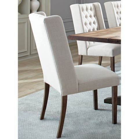 Demi Wing Button Tufted Design Beige Dining Chairs (Set of 2)
