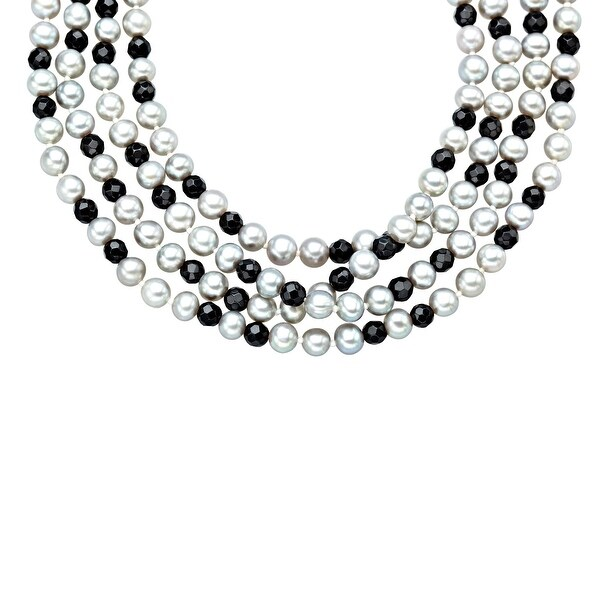 100-inch 5mm Silver Grey Freshwater Pearl and 4-4.5mm Faceted Onyx Strand Necklace