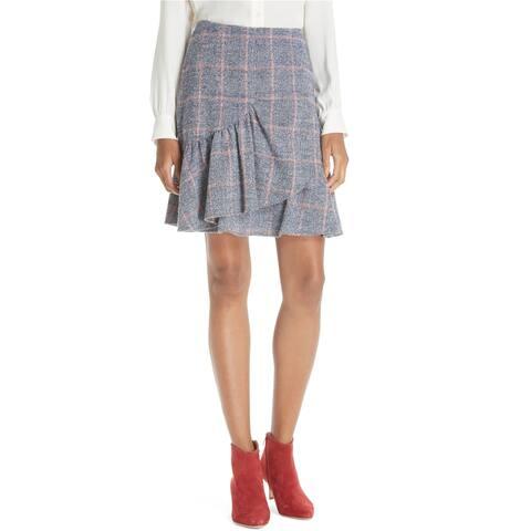 Rebecca Taylor Womens Plaid Ruffle Mini Skirt