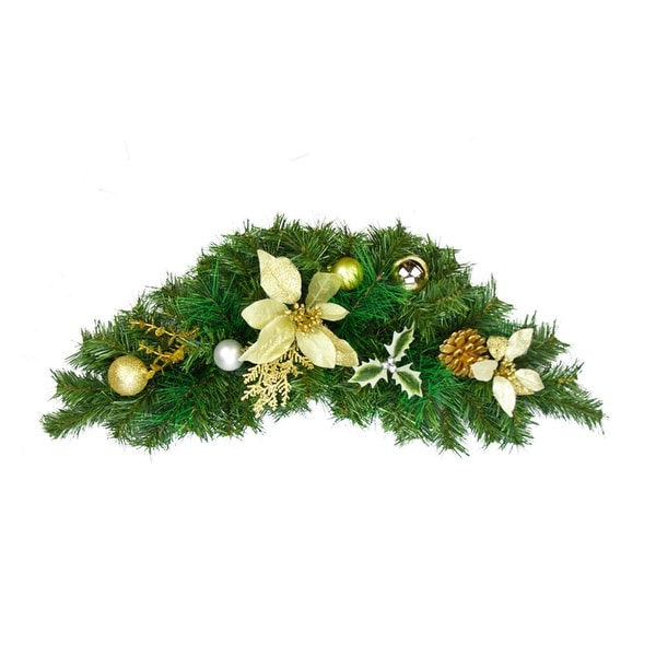 "30"" Gold Poinsettia and Pinecone Artificial Christmas Swag - Unlit - green"