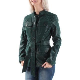 GUESS $128 Womens New 1075 Green Belted Button Down Casual Coat S B+B