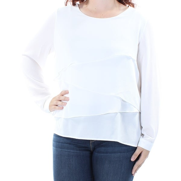 8d72d81c257 Shop VINCE CAMUTO Womens Ivory Tiered Long Sleeve Jewel Neck Top Size: L -  On Sale - Free Shipping On Orders Over $45 - Overstock.com - 21240882