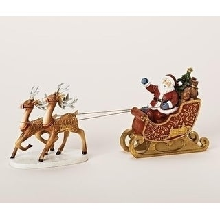 """12"""" Glittered Santa's Sleigh with Reindeer Christmas Table Top Decoration"""