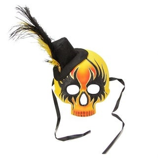 """14"""" Orange, Yellow and Black Glam Rock Skull Faux Feathered Halloween Masquerade Mask"""