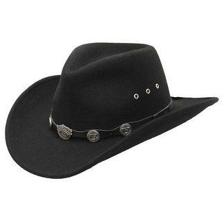 Jack Daniels Men's 100% Crushable Wool Cowboy Hat, Water Repellant Black JD03-91
