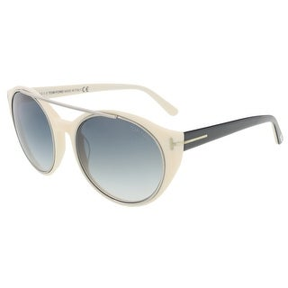 Tom Ford FT0383/S 25B Joan Ivory/Black Round Sunglasses