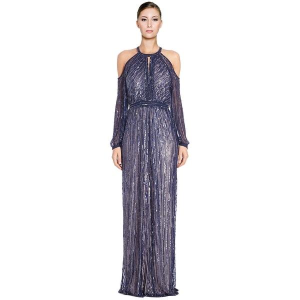 Shop Parker Black Casa Embellished Open Shoulder Evening Gown Dress ...