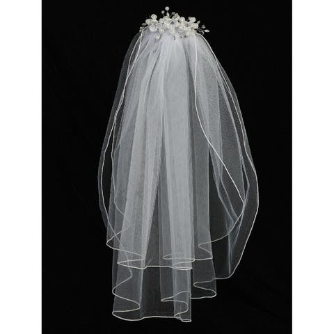 Lito Girls White Organza Flowers Rhinestone Pearls 24 Inch Communion Girl Veil