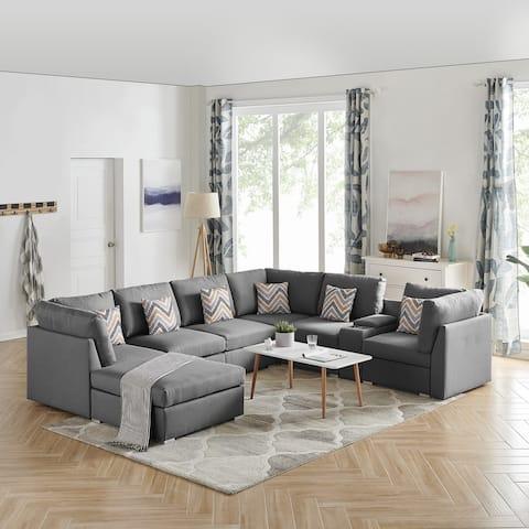 Amira Gray Fabric Reversible Modular Sectional Sofa Set