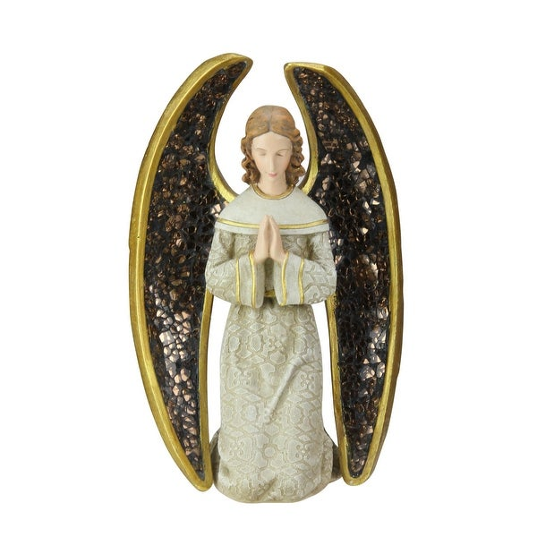 """8"""" Praying Angel with Mosaic Wings Table Top Christmas Figure - GOLD"""