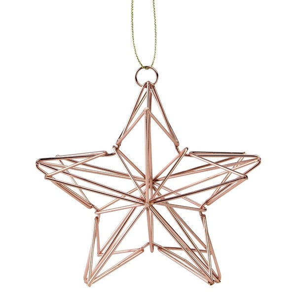 "4.5"" Rose Gold Geometric Wire Star Christmas Ornament"