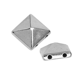 Acrylic 2-Hole Pyramid Stud Beads, 5x10mm, 10 Pieces, Silver Tone