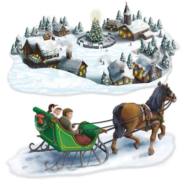 "Club Pack of 24 Christmas Holiday Village and Sleigh Ride Props 58"" & 55"""