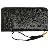 Afonie Accordion Zip Wristlet Black Croco Design