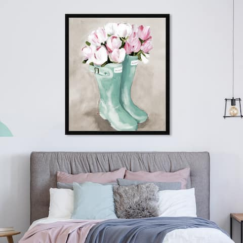 Oliver Gal 'Tulips In Spring Boots' Floral and Botanical Wall Art Framed Print Florals - Pink, Green