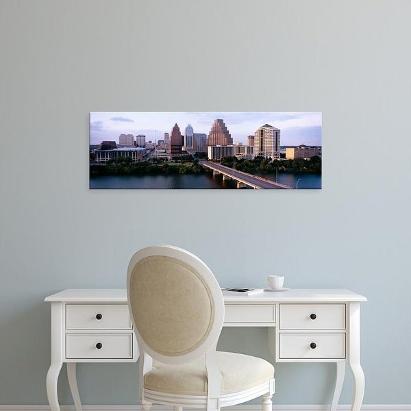Easy Art Prints Panoramic Image 'Skylines in a city, Lady Bird Lake, Colorado River, Austin, Texas' Canvas Art