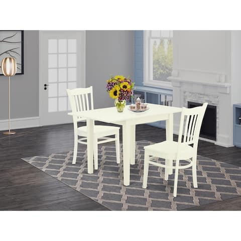 Rectangle Small Kitchen Table and Dining Room Chairs with Solid Wood Seat and Slat Back - Linen White Finish (Chairs Option)