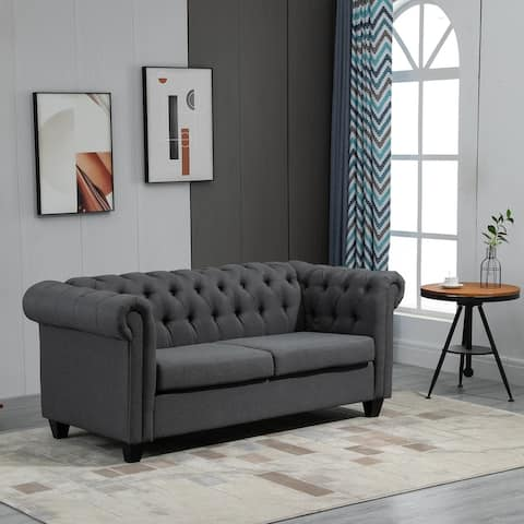 HOMCOM Retro 2-Seater Sofa Linen Fabric Couch with Rubberwood Legs, and Rolled Arms for Living Room, Grey