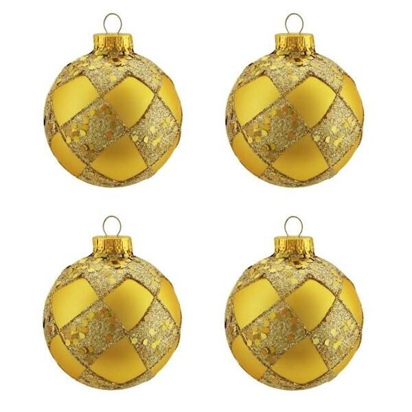 "4ct Matte Gold Glitter Diamond Design Glass Ball Christmas Ornaments 2.5"" (65mm)"