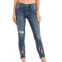 Miss Me Denim Jeans Womens Skinny Distressed Med Wash