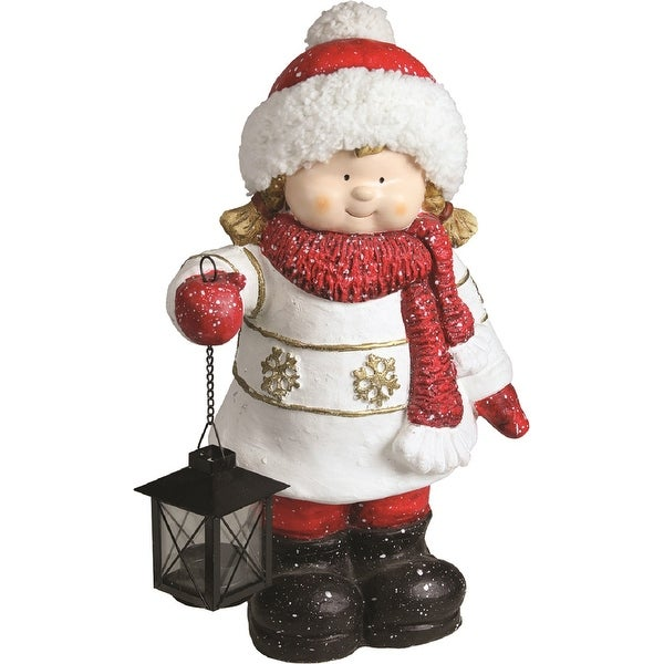 "16.50"" Christmas Morning Winter Girl Holding Tealight Lantern Decorative Christmas Tabletop Figure"