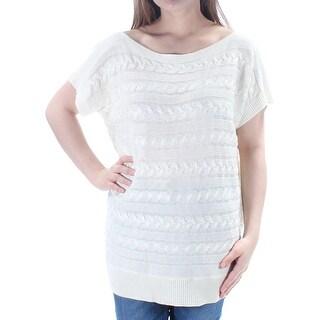 RALPH LAUREN $80 Womens 1209 Ivory Jewel Neck Short Sleeve Casual Sweater M B+B