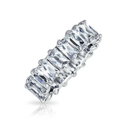 Bling Jewelry Baguette Cut Eternity Wedding Band Ring Sterling Silver