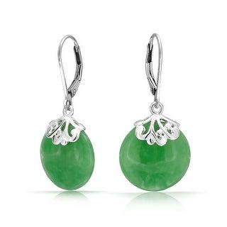 Bling Jewelry Gemstone Dyed Green Jade Disc Earrings Leverback 925 Sterling Silver