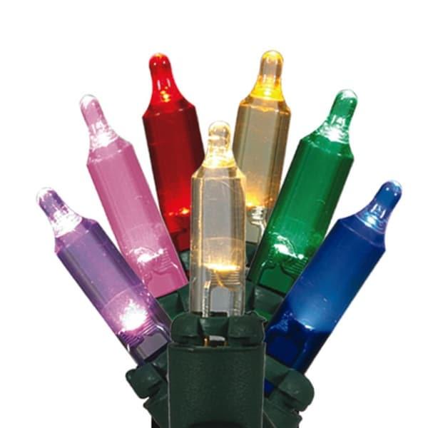 Set of 50 Multi-Color LED Mini Christmas Lights - Green Wire - multi