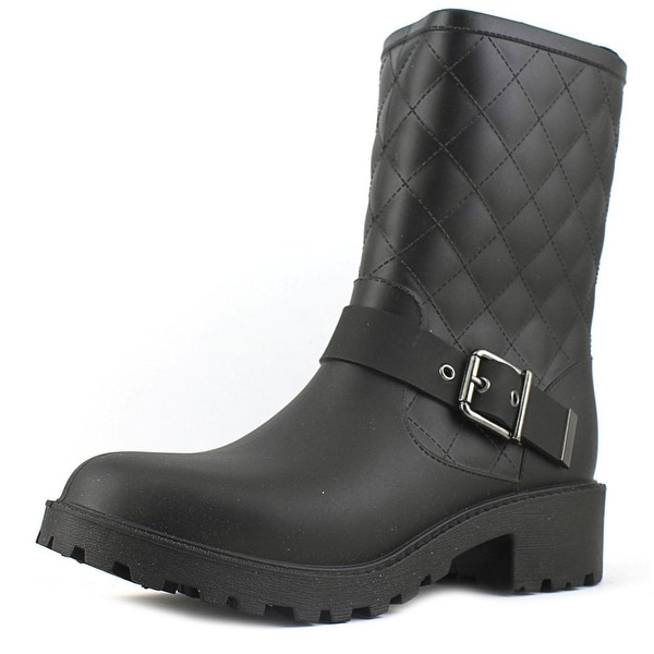 Dav Moto Quilted Women Round Toe Synthetic Black Rain Boot