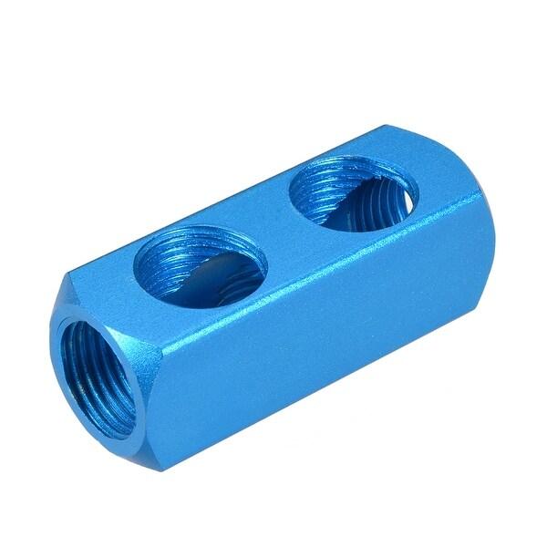 """1/2"""" G Thread Pneumatic 5Port 2Way Air Hose Inline Manifold Block Splitter 2Pcs"""